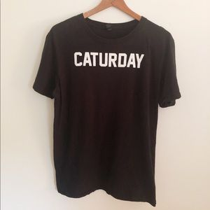 Caturday Cat Mens Large Funny Black T-Shirt Tee